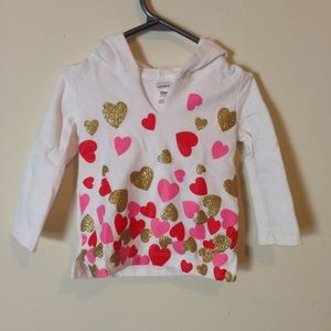 5/$25 Carter's White Heart Hoodie Size: 12 Months